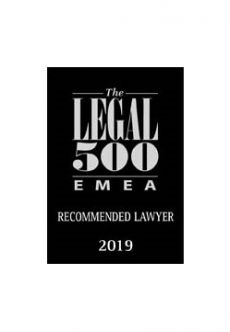 Legal 500 - Reccomended Lawyer 2019